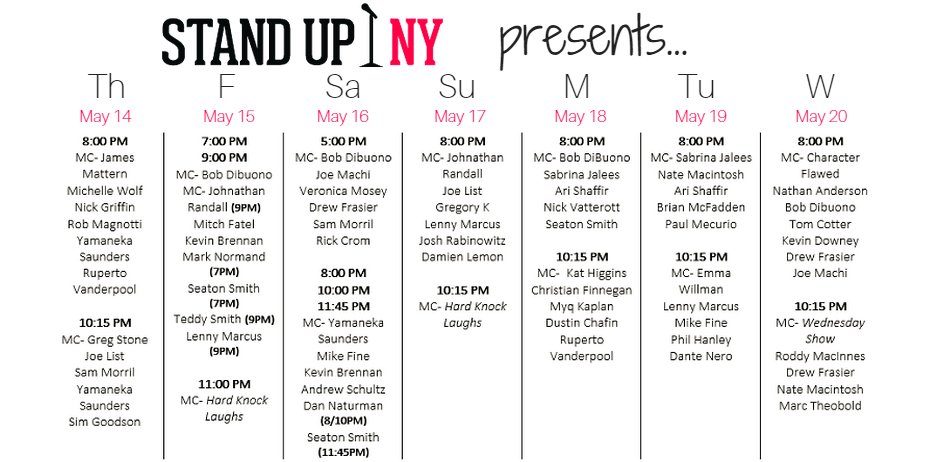Stand Up NY Comedy Club NYC New York Manhatten Comedian Comic Line Up