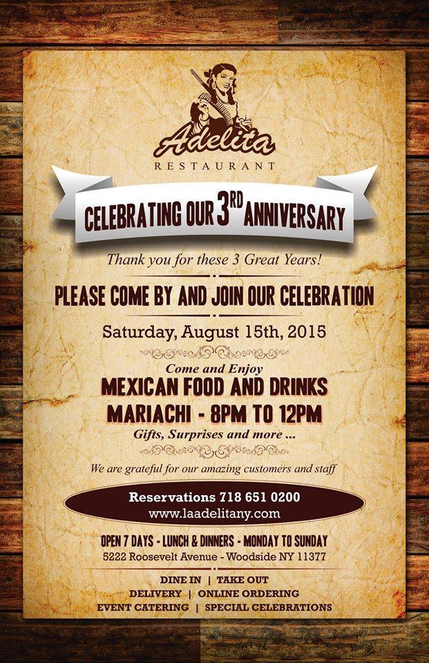 Come And Enjoy Authentic Mexican Food Drink Their Will Be Mariachi Gifts Surprise More For Information Visit Us At 5222 Roosevelt Ave