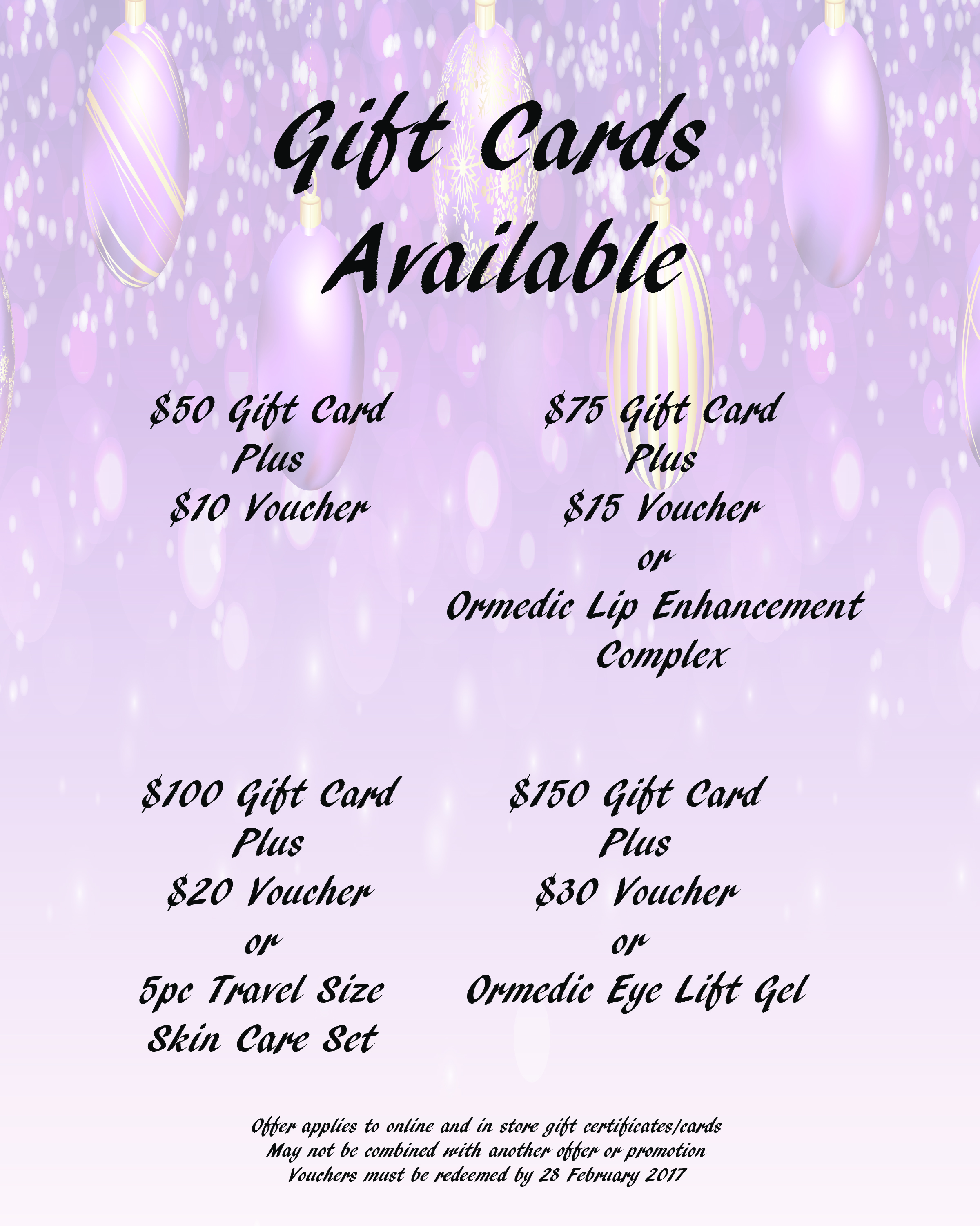 free gift with gift card purchase brow to toe waxing and skin care