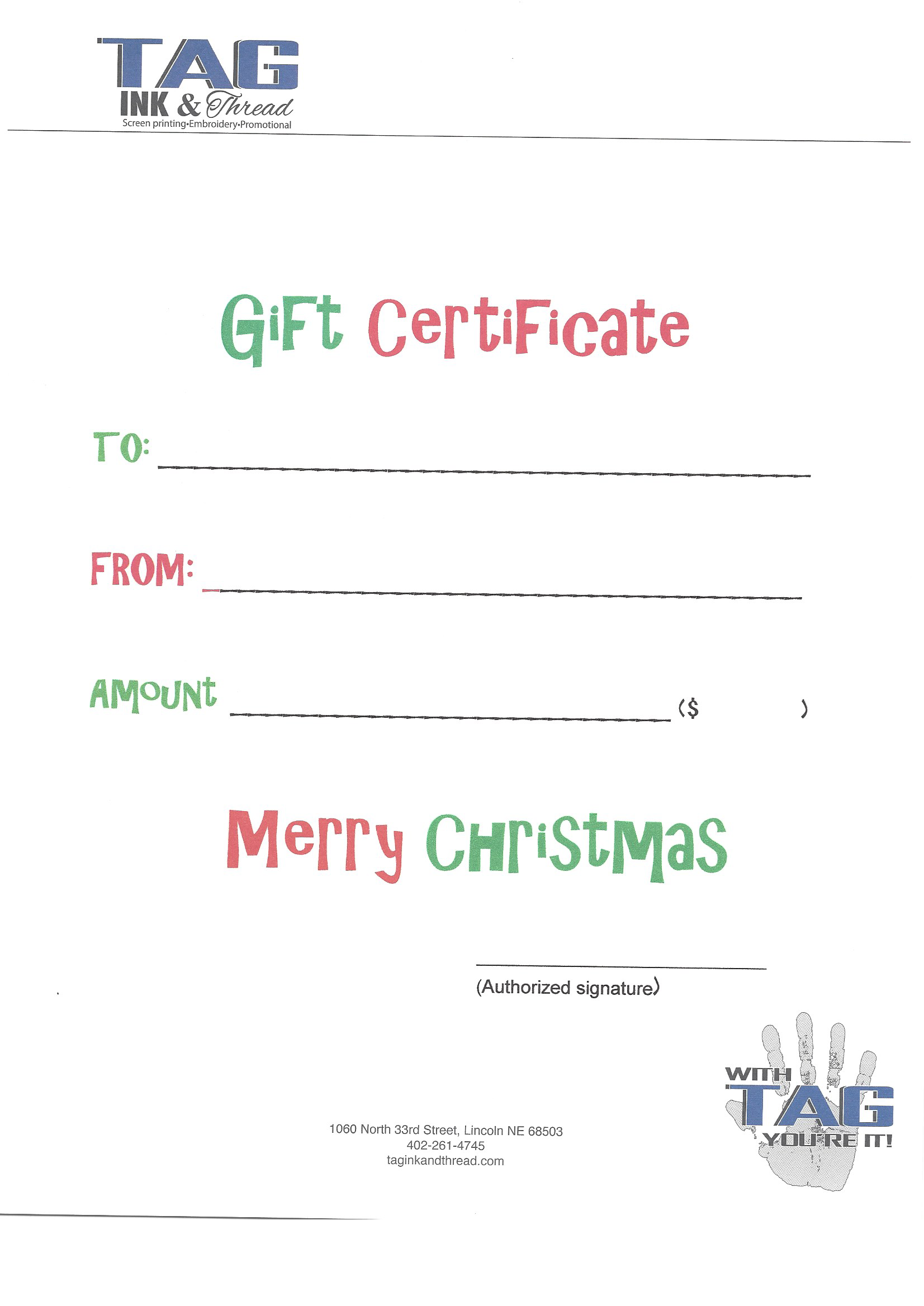 27b05245 Gift Certificate for Embroidery or Screen Printing - Tag Ink ...