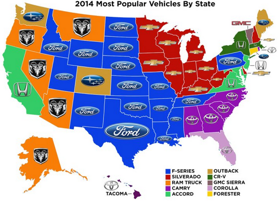 top selling cars by state according to pull a part used auto parts