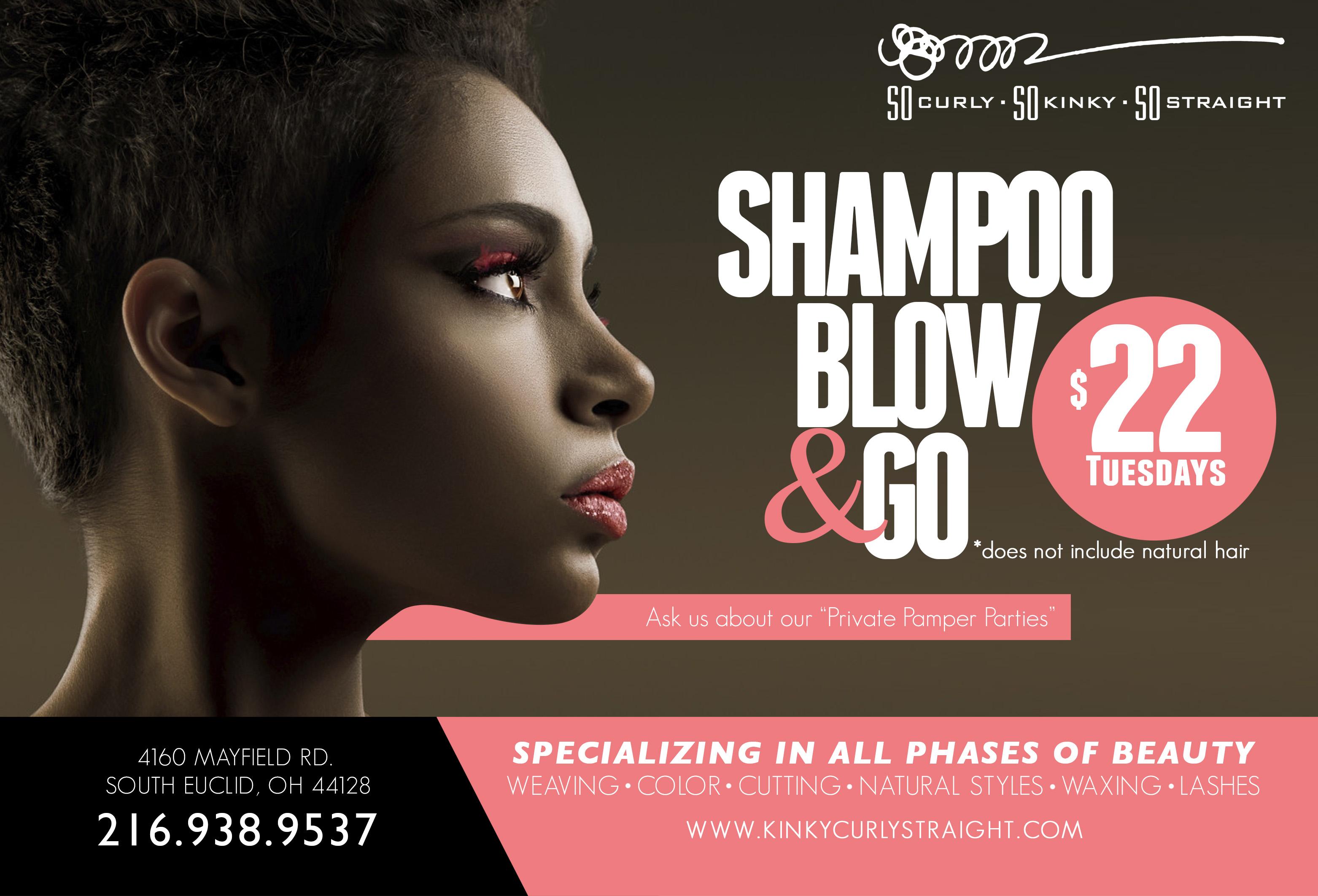 Tuesday Salon Specials Shampoo Blow Go So Curly So Kinky So