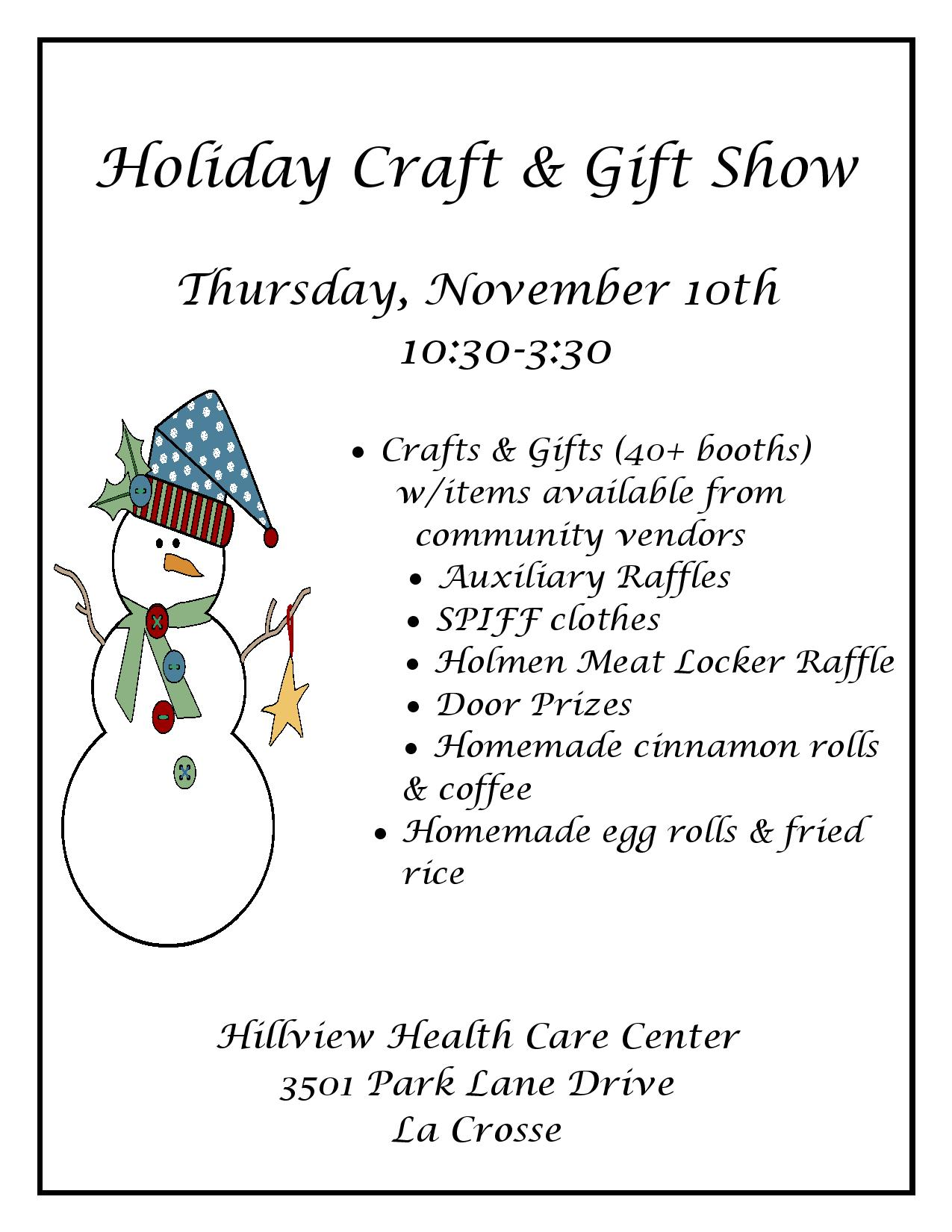 Holiday Craft & Gift Show - Hillview Health Care Center - La ...