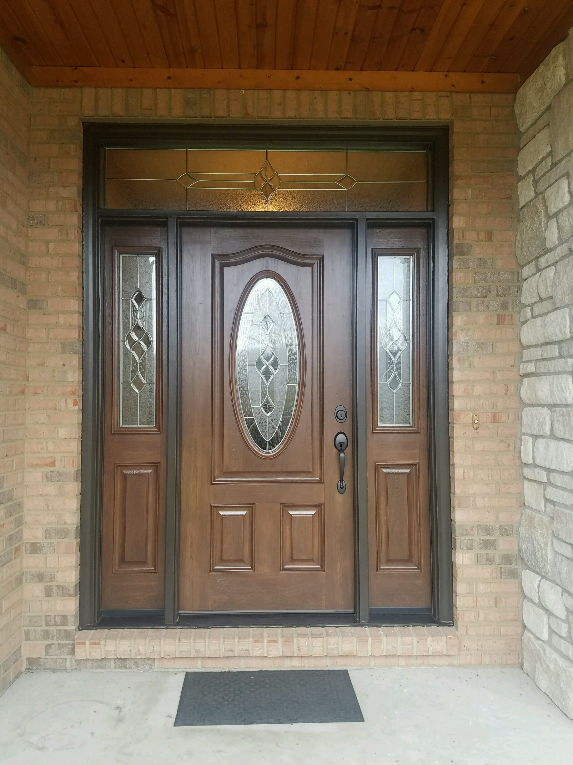 Fiberglass Entry Door With 2 Sidelites