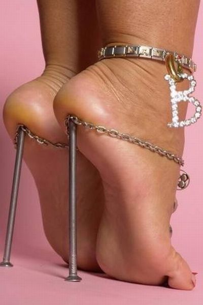 High heels elevate the back of the body, tipping it forward.