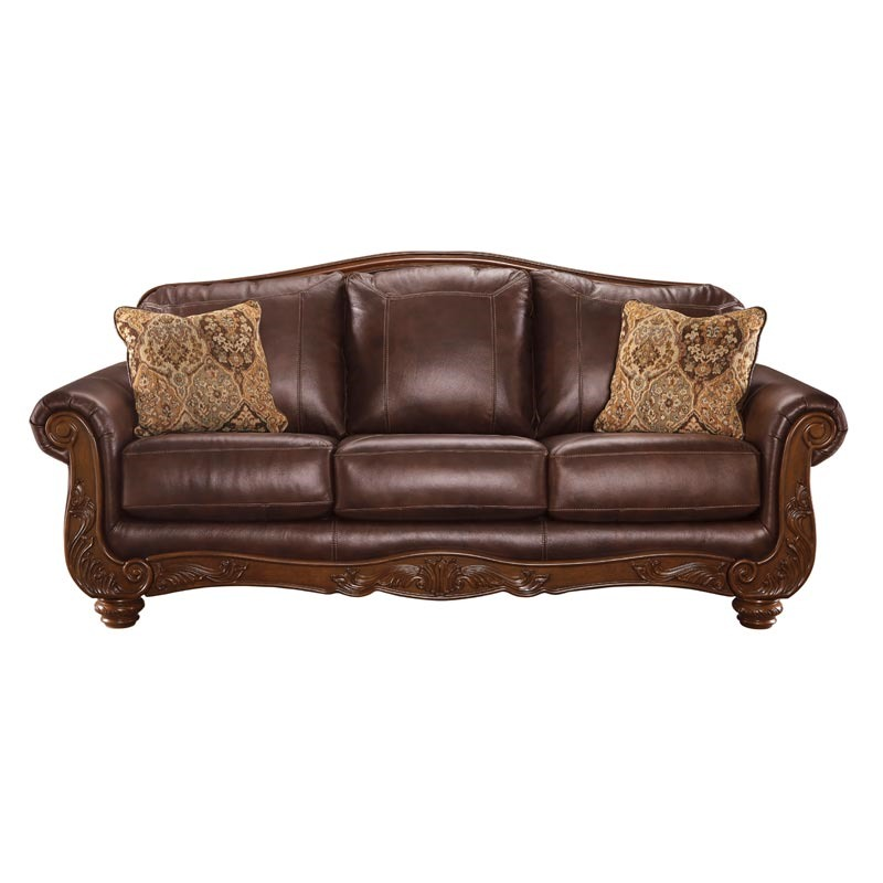 Ashley Mellwood Leather Sofa With Wood Trim ...