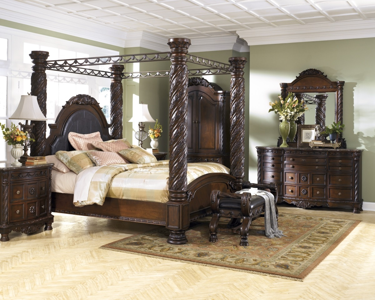 when it comes to master bedroom sets the north shore canopy set is one of midwest clearance most ornate regal choices